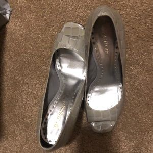 Grey Peep-toe Snake Print Heels